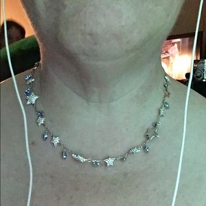 Swarovski Star Necklace 11 stars 12 aquamarine gem